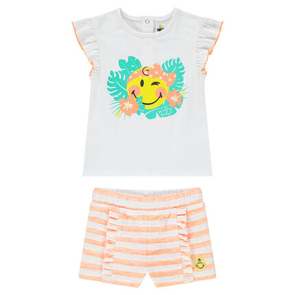 Ensemble avec tee-shirt print Smiley et short rayé