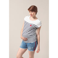 T-shirt de grossesse style marin avec coeur printé