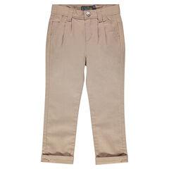 Pantalon droit en coton et lin