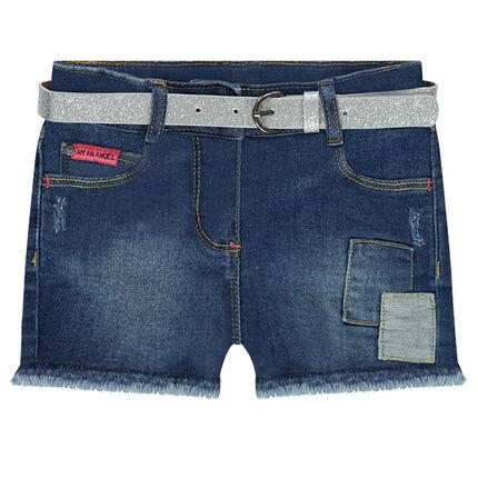 Short en jeans effet used avec ceinture à paillettes amovible