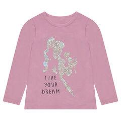 Tee-shirt en jersey uni avec princesse printée en foil iridescent
