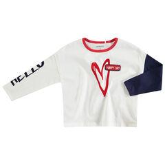 Tee-shirt manches longues en jersey avec coeur printé et badge en bouclette