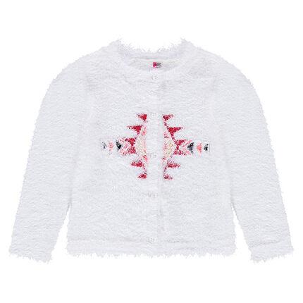 Gilet en tricot effet poil avec motif ethnique
