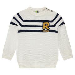 Pull en tricot fantaisie avec lettre en bouclette