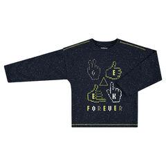 Tee-shirt manches longues en jersey effet neps avec symboles printés