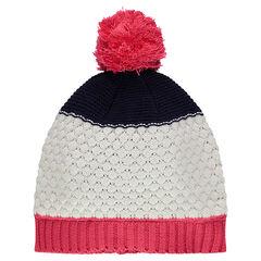Bonnet en tricot avec pompon rose