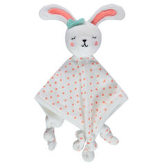 Doudou lapin en velours avec coeurs all-over