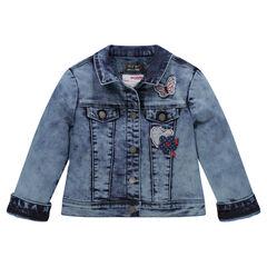 Veste en jeans effet neige doublée sherpa avec patchs fantaisie