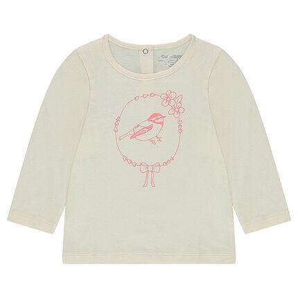 Tee-shirt manches longues en jersey avec oiseau printé