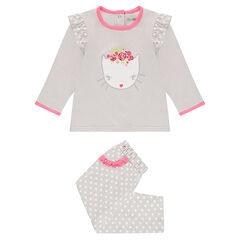 Pyjama en jersey avec chat printé et pantalon imprimé pois all-over