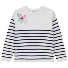 Pull en tricot rayé avec broderie colorée et badge à sequins