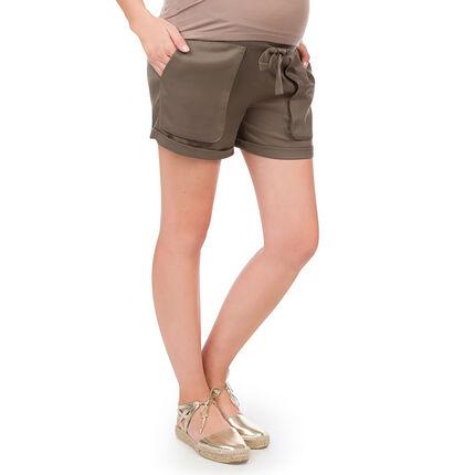 Short de grossesse kaki en Tencel