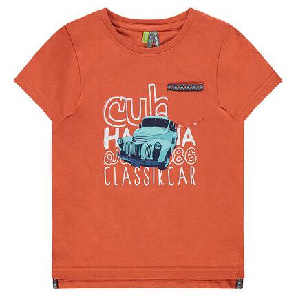 Tee-shirt manches courtes avec voiture et inscriptions printées