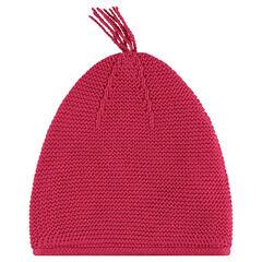 Bonnet en tricot uni avec pompon
