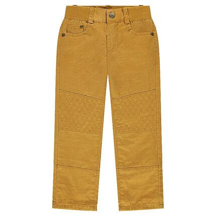 Pantalon en twill moutarde doublé jersey
