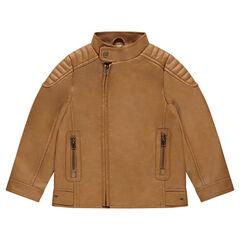Blouson en simili cuir camel avec poches zippées