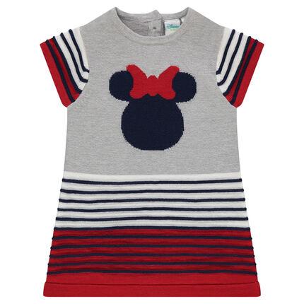 Robe en tricot à rayures 3D et print jacquard Minnie