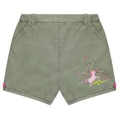 Short bloomer en coton armurée avec licorne printée