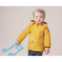 Parka en gomme jaune doublée jersey à rayures