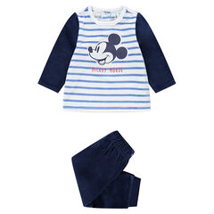 Pyjama en velours avec rayures contrastées et Mickey ©Disney brodé