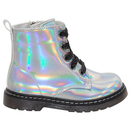 Bottillons iridescents à lacets et zip du 28 au 35