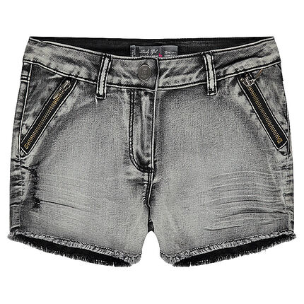 Junior - Short en jeans délavé à zip et franges