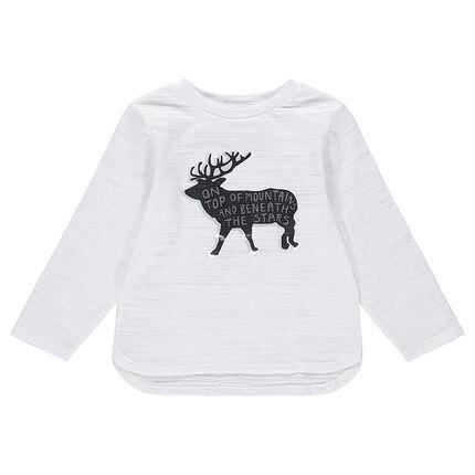 Tee-shirt manches longues en jersey slub avec cerf et texte printé