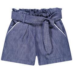 Short en maille fantaisie couleur jean avec ceinture à nouer