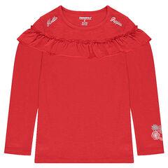 Tee-shirt manches longues en jersey avec volant et prints argentés