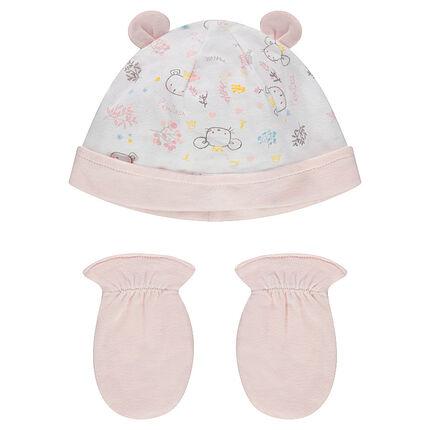 Set de naissance avec bonnet imprimé et moufles unies