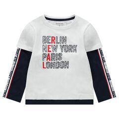 T-shirt manches longues effet 2 en 1 avec villes printées et bandes imprimées