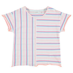 Junior - Tee-shirt manches courtes à rayures contrastées