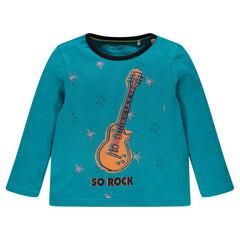 Tee-shirt manches longues avec étoiles et guitare printées