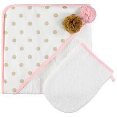 Set de bain avec cape à capuche imprimée à pompons et gant uni