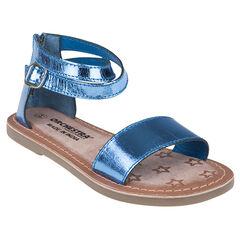 Nu-pieds bleus en cuir effet métallisé du 24 au 27