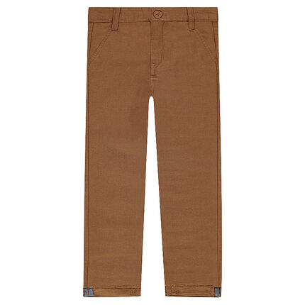 Pantalon coupe chino en coton fantaisie camel