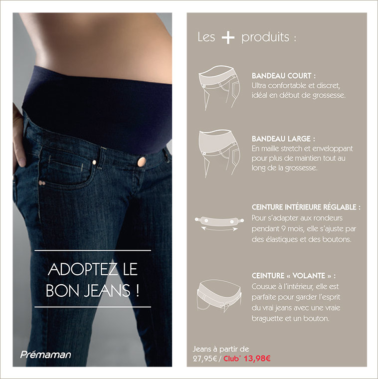 Jeans de grossesse collection prémaman