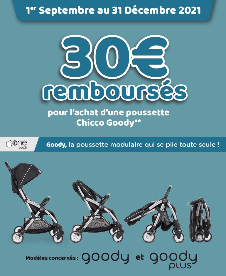 30€ remboursés pour lachat d'une poussette Chicco Goody